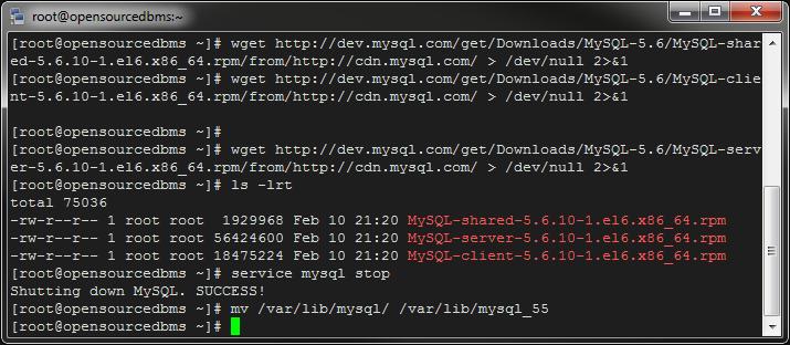 move mysql 5.5 directory