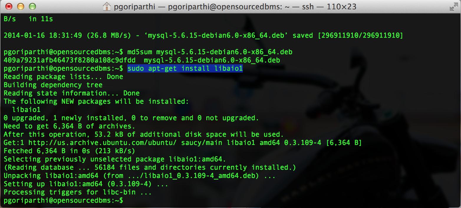 Mysql 5.6 libaio1 package