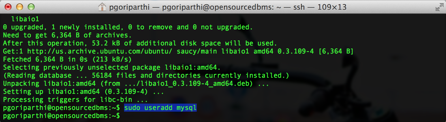 mysql system user