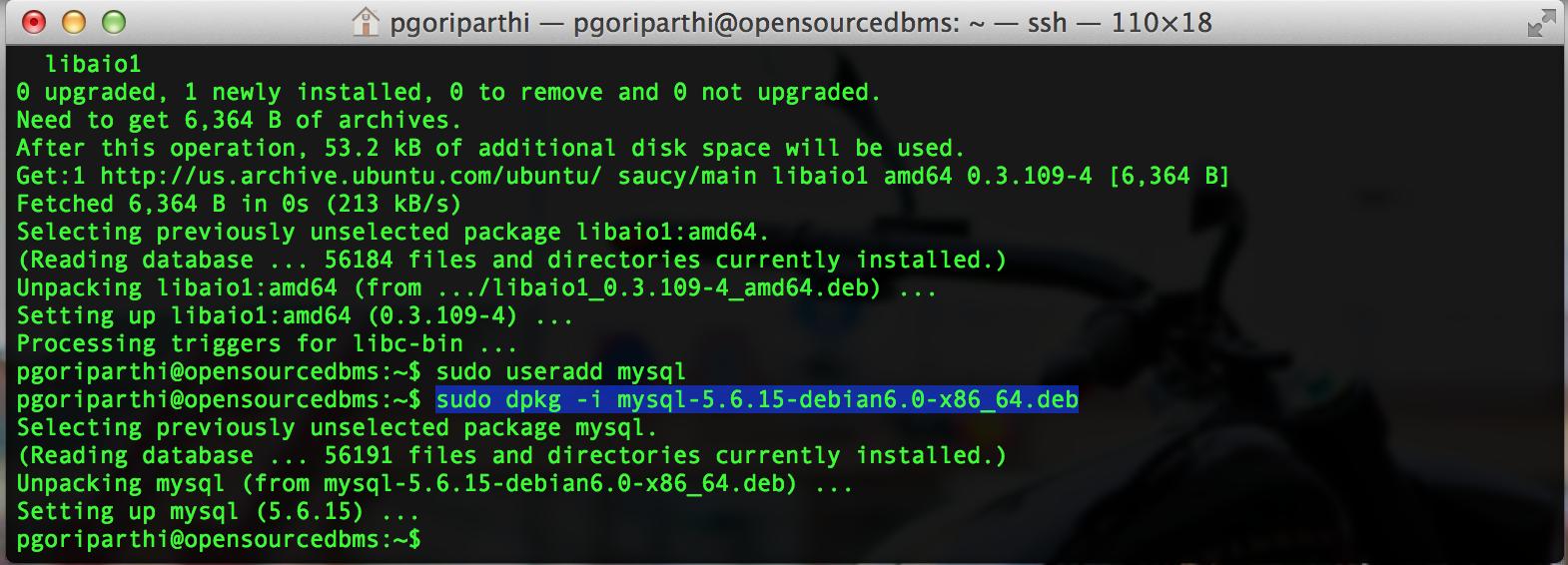 MySQL 5.6 debian package install