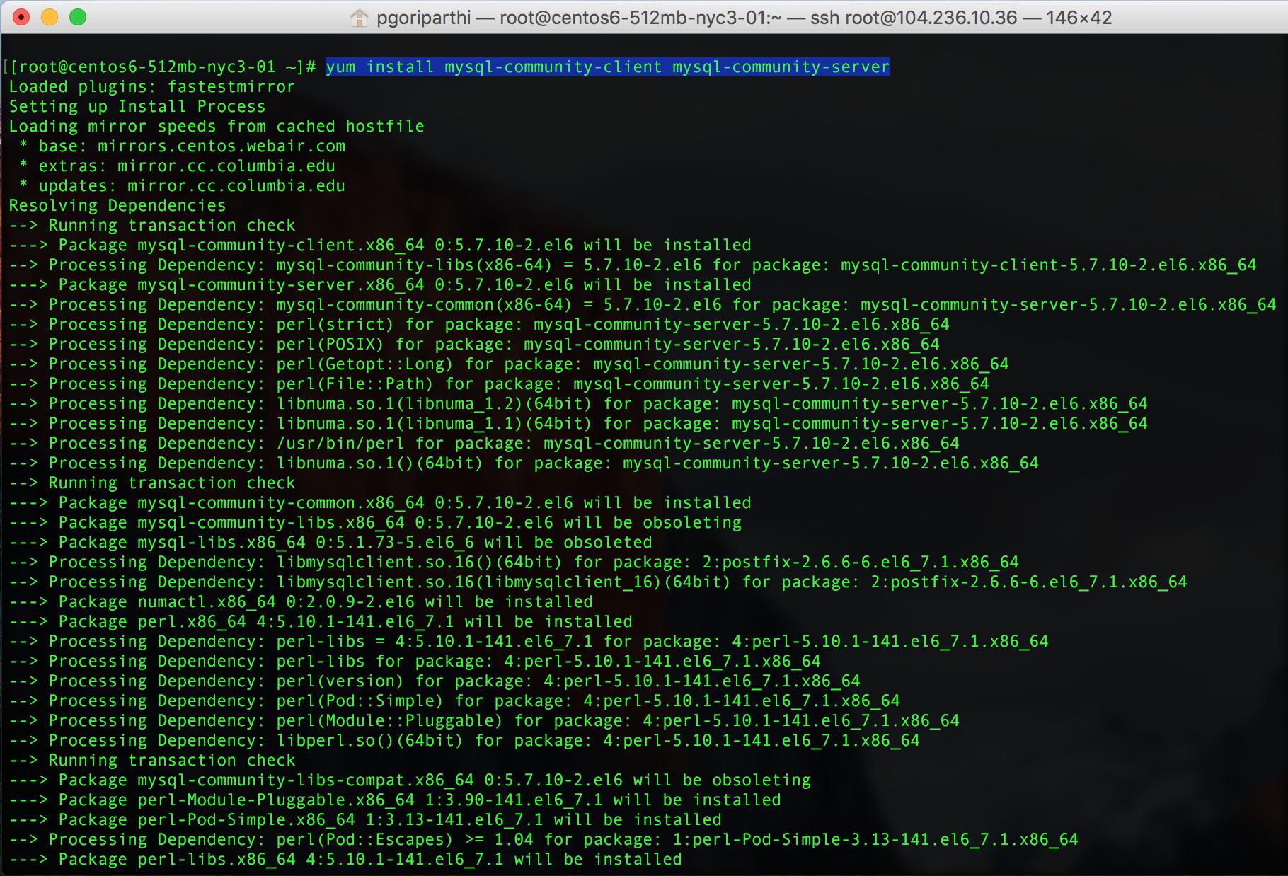installing mysql 5.7 yum command