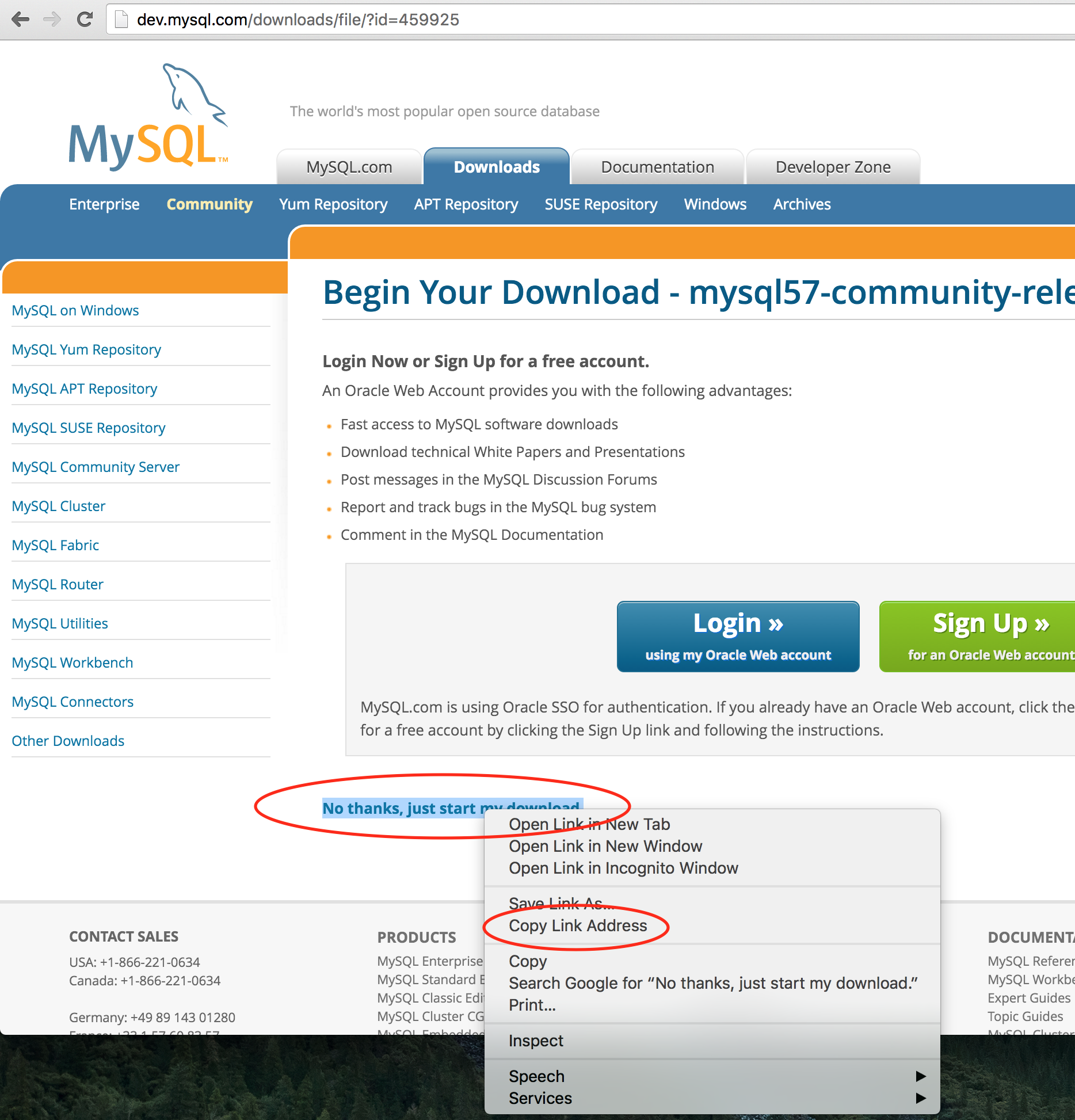 MySQL 5.7 Yum repo download link